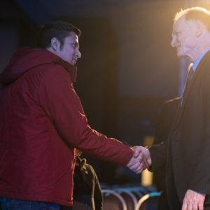 John Bradshaw greeting a visitor