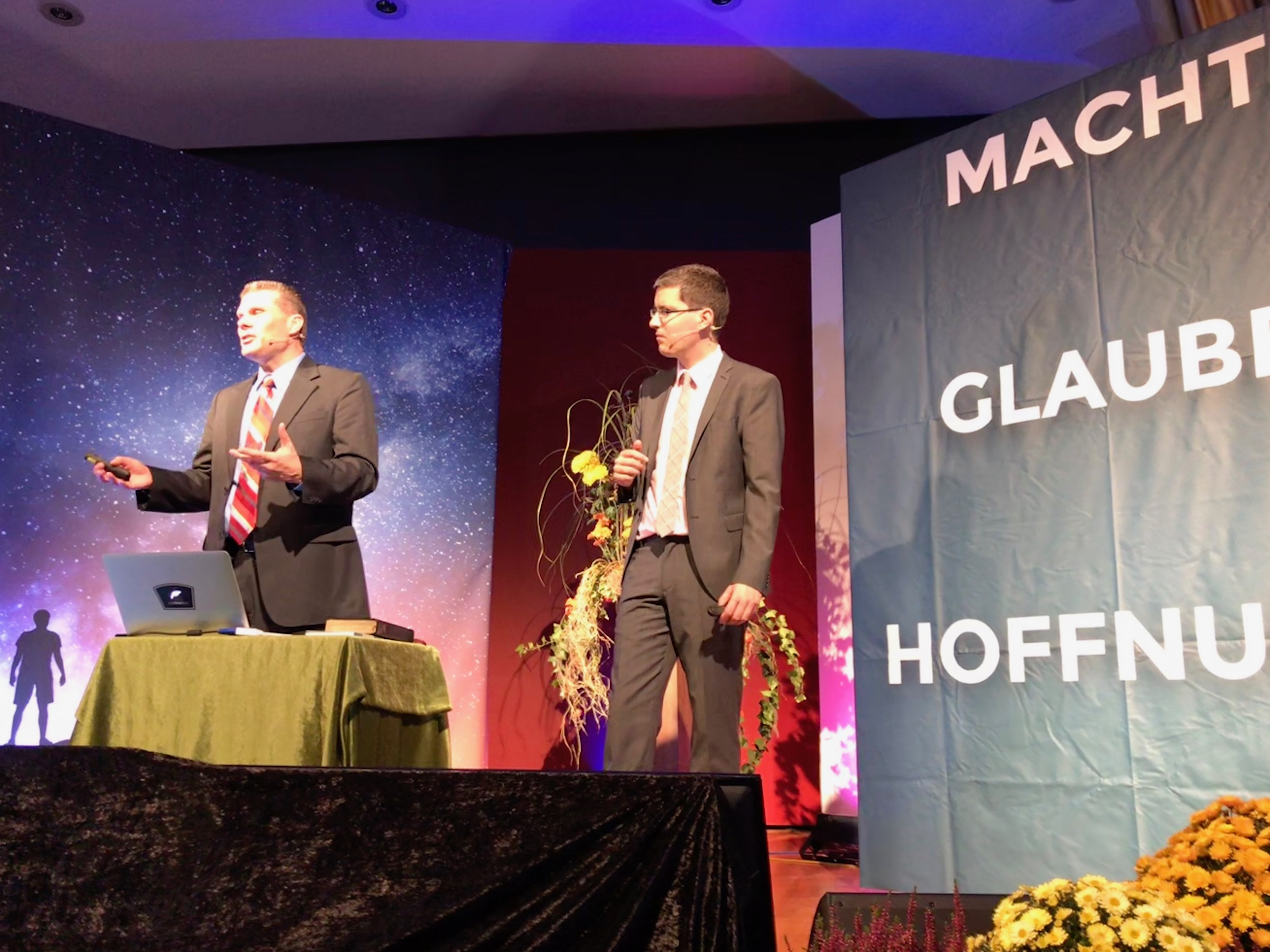 Pastor Eric Flickinger and his translator preach a sermon to the people of Stuttgart, Germany.